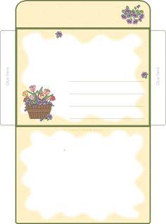 Diy Envelope Template, Envelope Art, Free Printable Stationery, Printable Box, Free Printables, How To Make An Envelope, How To Make Box, Envelopes Decorados, Cute Envelopes