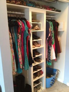 create inexpensive built in closets with ikea shelves