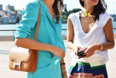 I like that turquoise and Halston purse!