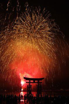 Fireworks, Itsukushima Shinto Shrine in Miyajima, Hiroshima