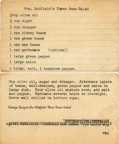 Classic vintage, three bean salad recipe with kidney beans, green beans, and wax beans - garbanzos are optional! Three Bean Salad, 3 Bean Salad, Green Bean Salads, Bean Salad Recipes, Salad Dressing Recipes, Vegetable Recipes, Salad Dressings, Vintage Recipes, Retro Recipes