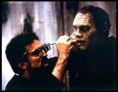 Makeup EFX master Tom Savini touching-up Bub (Sherman Howard) on the set of Day of the Dead, Horror Icons, Horror Films, Horror Art, Legends Of Horror, Monster Horror Movies, Tom Savini, Makeup Masters, George Romero, Movies