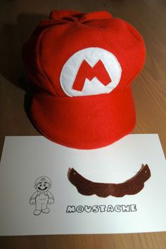Super Mario hat tutorial. Use green felt with an L logo for Luigi.