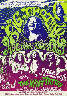 Janis Joplin/Big Brother And The Holding Company Selland Arena Concert Poster (Baba Love Company, Very Rare. Original poster for a show in Fresno, California. dated April 19 with opening act the Mint Tattoo. Janis Joplin, Hippie Posters, Rock Posters, Music Posters, Art Posters, Vintage Rock, Vintage Music, Vintage Concert Posters, Vintage Posters