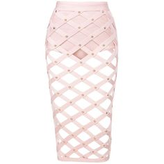'Izumi' ❤ liked on Polyvore featuring skirts, pink skirt, cage skirt, pink bandage skirt and bandage skirt