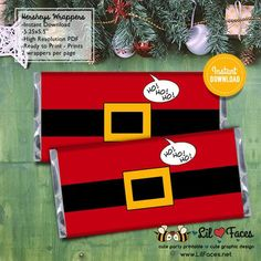 Cute Santa Claus Belt Christmas Favors - Hershey's Candy Bar Wrapper - X-mas Personalized printables will save you time and money while making your planning a snap! Christmas Favors, Homemade Christmas Gifts, Christmas Holidays, Christmas Decorations, Christmas Candy Bar, Merry Christmas, Candy Crafts For Christmas, Christmas Labels, Christmas Chocolate Bar Wrappers