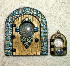 Fairy door swap polymer clay glass gem swarovski crystal magic door