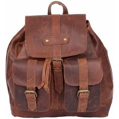MAHI Leather - Leather Nomad Backpack in Vintage Brown ($185) ❤ liked on Polyvore featuring bags, backpacks, draw string backpack, genuine leather backpack, leather travel backpack, vintage leather rucksack and vintage style backpacks