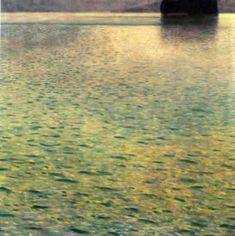 L île sur le lac Attersee (1901), huile de Gustav Klimt (1862-1918, Austria)