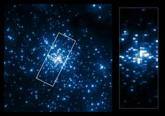 The left side of this collage shows the central part of the young star cluster R136 as it can be seen in the ultraviolet. Due to the high-resolution of Hubble in the ultraviolet the individual stars in this dense cluster can be resolved and studied. The right side shows a pseudo-image, created from the UV spectra collected with the Space Telescope Imaging Spectrograph (STIS). These spectra have been used by scientists to determine the properties of the stars in R136. The boundary of the 17…