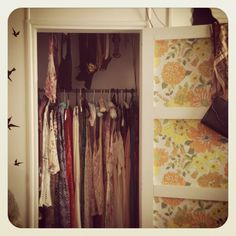 Vintage wardrobe DIY wallpaper