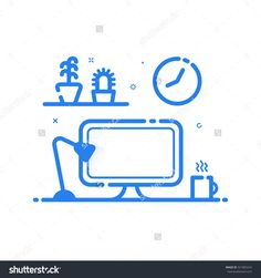 Vector Illustration Of Blue Icon In Flat Line Style. Linear Computer Desk Lamp, Flowers. Graphic Concept Of Work Place Design Studio Use In Web Project And Applications. Outline Isolated Object. - 521855242 : Shutterstock