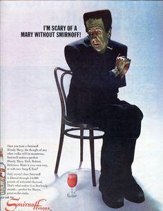 1960's Vintage Smirnoff Vodka Halloween Frankenstein Ad. $12.95, via Etsy.