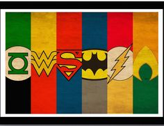 They highlight the entire Justice League with the Superman, Batman, Wonder Woman, Aquaman, Green Lantern logos.