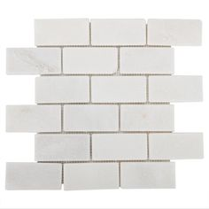 Carrara White Brick Marble Mosaic - 12in. x 12in. - 931100719 | Floor and Decor