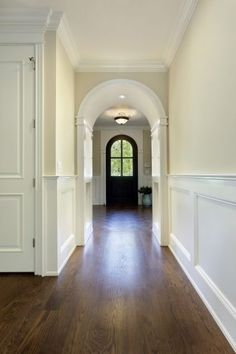 Beautiful crown molding and wainscoting.