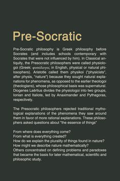 pre socratic philosopher Presocratics presocratic philosophers are the western thinkers preceding socrates (c 469-c 399 bce) but including some thinkers who were roughly contemporary with socrates, such as protagoras (c 490-c 420 bce.