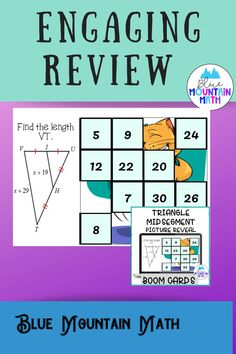 Are you looking for an interactive and self-correcting resource to practice finding the measures of triangle midsegments with your students? There are 2 different pictures with 16 problems for each picture. Students start with the picture totally covered by the answer boxes. As they answer each question correctly, more and more of the covered picture is revealed.