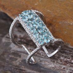 Jewel Studio by Prachi Madagascar Paraiba Apatite Ring in Platinum Overlay Sterling Silver (Nickel Free)