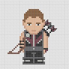 Cross stitch Marvel Avengers Hawkeye with bow and arrows. Marvel Cross Stitch, Mini Cross Stitch, Cross Stitch Charts, Cross Stitch Patterns, Crochet Patterns, Crochet Chart, Hawkeye, Cross Stitching, Cross Stitch Embroidery