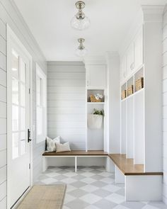 A mud room, by virtue of its existence, makes all the other rooms in the house so much tidier. I have 10 things to include in a Mud Room here. Mudroom Decor, Home, Checkerboard Floor, House Design, Interior, Farmhouse Laundry Room, Mudroom Design, Mudroom Laundry Room, House Interior