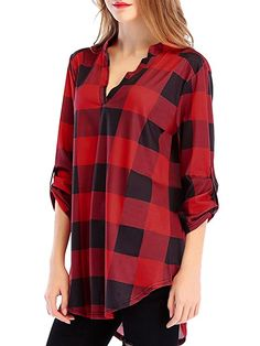 2d74e70a Jubileens Women Roll-up 3/4 Sleeve Plaid Shirt Tunic V Neck Casual Pullover Blouses  Tops at Amazon Women's Clothing store: