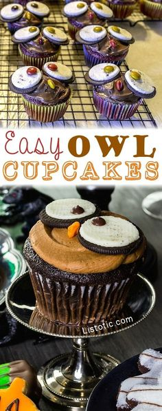 Easy Owl Cupcakes -- a super cute treat for Halloween or Thanksgiving! Fall dessert idea. Fall themed cupcakes. Halloween treats kids will love. Cute cupcakes for Halloween parties and birthday parties for boys or girls. #partycupcakes #owls #cakecreation