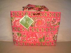 Vera Bradley Small Tic Tac Tote in Petal Pink   Retired NWT  toggle reader kindle handbag.