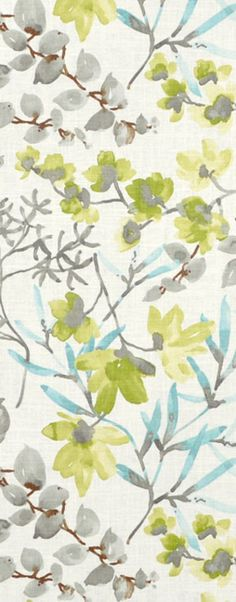 Braemore Gazebo Cloud Fabric #floral #green #blue #sewing #drapery