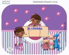 Kit Digital para festa de Aniversário Doutora Brinquedos gratuito para imprimir, use papel glossy adesivo 135gr para rótulos e glossy 230gr para caixinhas.