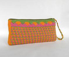 PDF pattern tunisian crochet clutch PRIMAVERA by Luganika on Etsy