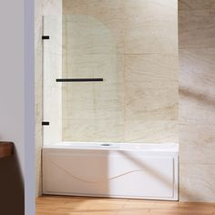 Vigo Orion 34-in. Curved Bathtub Door with .3125-in. Clear Glass and Stainless Steel Hardware & Reviews | Wayfair
