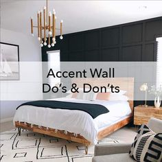 Painting an accent wall? Before you pick color, evaluate your potential accent wall based on our interior design Do's and Don'ts! Painted Feature Wall, Feature Wall Bedroom, Painted Accent Walls, Accent Wall Designs, Accent Wall Colors, Bedroom Wallpaper Accent Wall, Painting An Accent Wall, Office Wallpaper, Bedroom Paint Design