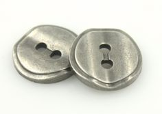 Nickel Silver Wavy Design Metal Hole Buttons - 18mm - 11/16 inch