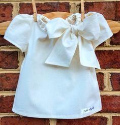 Antique Buttercream Girls Shirt - Large Bow - Kids Fashion on Etsy, $26.99