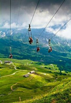 We can still get a rush down the mountain via zip lines, like these in Switzerland.