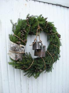 pine wreath - piece of bark - wrapped with hemp twine