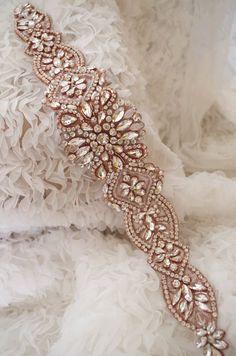 rose gold Rhinestone Sash belt rose gold crystal floral by LaceFun Gold Belts, Sash Belts, Dress Belts, Wedding Belts, Wedding Sash, Gold Gold, Bridal Accessories, Wedding Jewelry, Rose Gold Wedding Dress