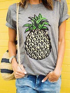 T-shirt imprimé ananas manche courte -gris-EmmaCloth-Women Fast Fashion Online