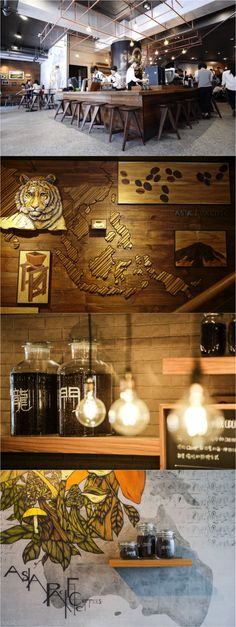 Designed as a theatre for coffee, this Starbucks store in Taipei's Longmen building features a Reserve Bar that acts as center stage. Centrally located, the bar is visible all throughout the store. Artwork in the store includes a marquetry, made with natural grain, different textures and colors inspired by the world's coffee belt.