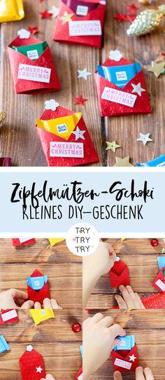 3 DIY Geschenke: Rudolph-Schokoladen-Glas, Schokoladen-Zipfelmützen und Schokokeks-Backmischung im Glas