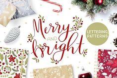 Christmas hand lettering & patterns by Inna Moreva on @creativemarket