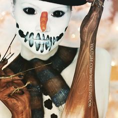 #frosty the #snowman, went out and ate bad children  This snowman #tutorial is NOW UP on @youtube .com/MadeYewLook!! I try to be evil with my scleras, and always end up looking cute?  @graftobianmakeup @bhcosmetics
