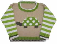 Ravelry: Turtle Crew Neck pattern by Gail Pfeifle, Roo Designs Knitting Patterns Boys, Knitting For Kids, Baby Knitting Patterns, Knitting Designs, Stitch Patterns, Crochet Patterns, Turtle Sweaters, Baby Sweaters, Baby Pullover