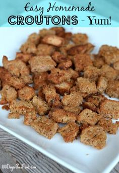 Easy Homemade Croutons from 100 Days of #RealFood