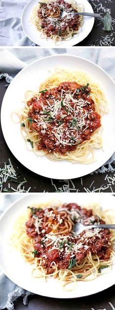 Super easy SPAGHETTI made from scratch in your INSTANT POT! This flavorful sauce tastes like it's been cooking for hours, but is made in less than 20 minutes!