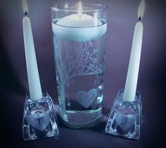 Unity SET, Wedding Unity Candle Set - Rustic Blooming  Sweetheart Tree Personalized Etched Glass w/ Floating Candle and Side Candles. $58.95, via Etsy.