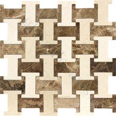 Champion Tile  Unique Shapes Series, Unique Shapes, Dark Emperador & Crema Marfil Marble, Polished, Brown, Stone