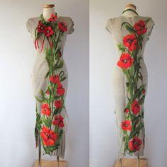 Linen dress with felted aplication Poppy | Flickr - Photo Sharing! #felting #felt #clothing #poppy #art #painting #flower #wild #dress