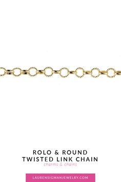This Rolo & Round Twisted Link Chain set in gold is hip and modern! The alternating Rolo and Round twisted links gives it such a nice texture! Yellow Gold Alternating Rolo and Round twisted links Lobster Clasp Jewelry Collection, Chain, Link, Bracelets, Rolo, Bangle Bracelets, Bracelet, Bangle, Arm Bracelets